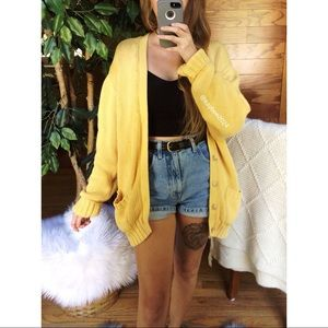 🌿 Vintage Golden Yellow Cozy Chunky Knit Cardigan